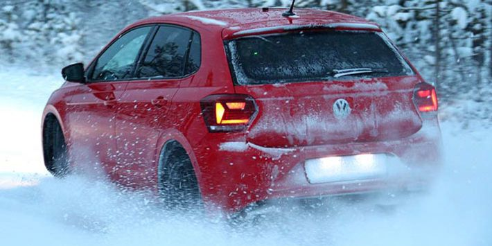 The Volkswagen Polo city car tests winter tyres on snow for the 2019 TCS and ADAC comparison test