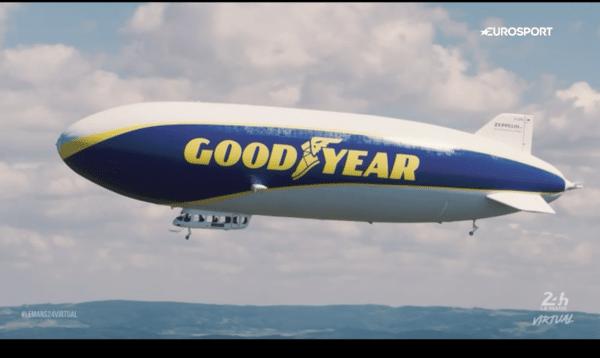 Goodyear blimp in a virtual race
