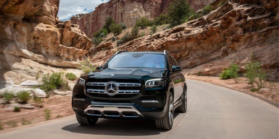 Mercedes driving through the desert