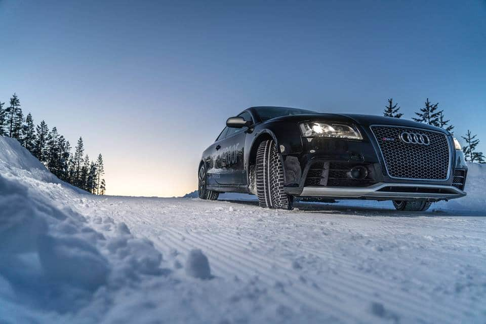 Audi with Nokian WR A4 driving the in snow