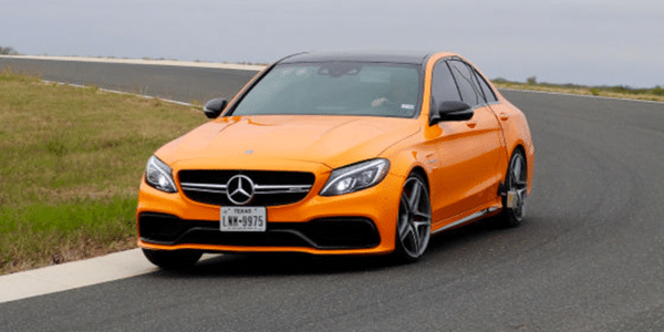 Test of high performance tyres cornering with a Mercedes AMG