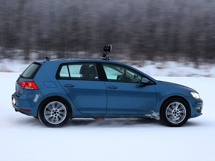 Volkswagen Golf cornering on a snow covered track for the 2021 ADAC and TCS winter tyre test