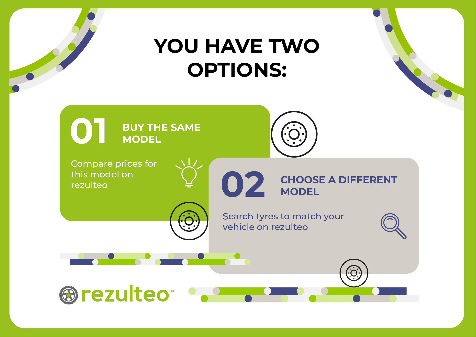 Two possibilities to choose tyres and to buy without taking risks