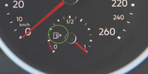 The petrol pump icon indicates where the fuel filler cap is