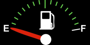 The arrow beside the petrol pump indicates which side the flap is